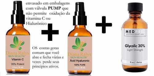 trio ácido glicólico a 30%+vitamina c35% + hialurônico 100%