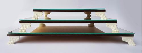 trio bandejas classic quadradas pmg com espelho mesa doces