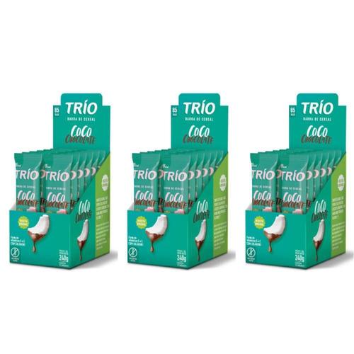 trio barra cereal tradicional coco chocolate c/12 (kit c/03)