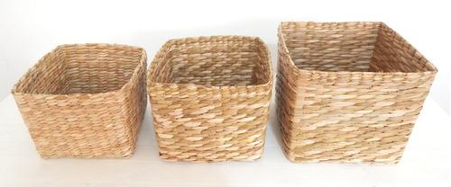 trio caixa organizadora palha de taboa quadrado s/ tampa