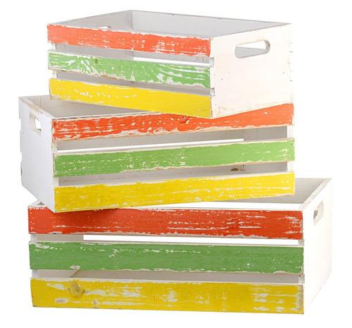 trio de caixotes vazados em madeira rústica - tricolor
