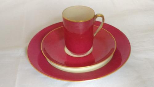 trío de chocolate o café limoges, taza + plato + plato masas