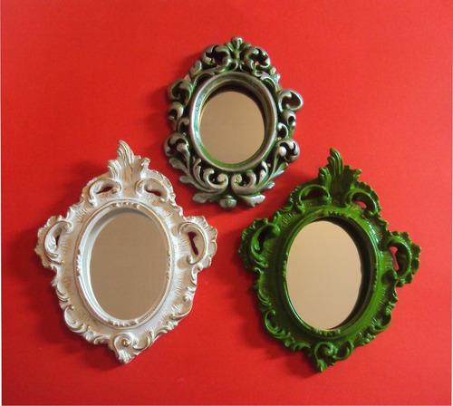 trio de espelhos decorativos (03 peças).