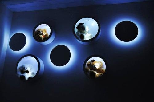 trio de nichos iluminados c/ led s/ fio redondo ou quadrado