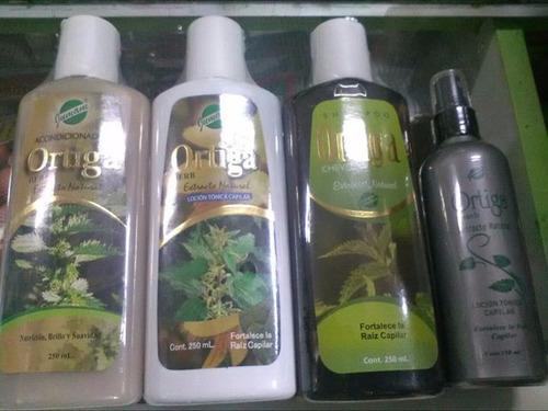 trio de  ortiga  shampoo+ acondicionador + locion  250cc