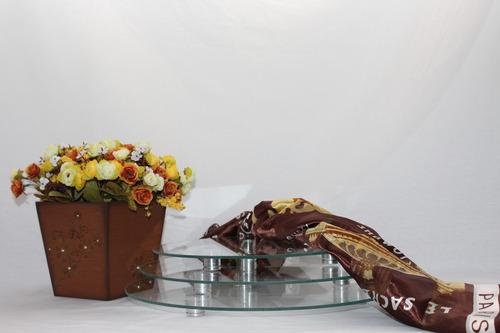 trio de pratos redondos para bolos doces frios buffet festas
