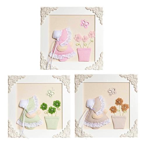 trio de quadrinhos quarto bebê menina camponesas borboletas