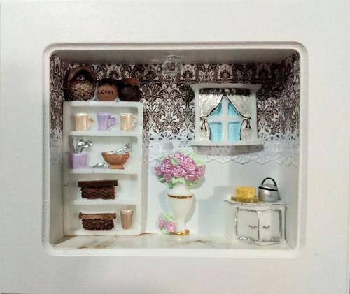 trio de quadros, mini cozinha (moldura com vidro)