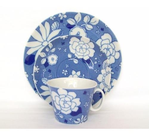 trio de te porcelana marly modelo blue garden