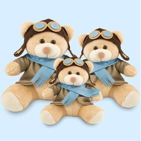 Trio De Ursinhos Aviador 20cm, 25cm E 30cm Para Nichos-