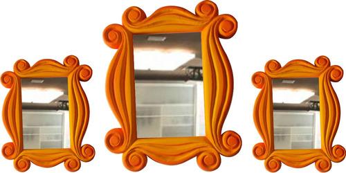 trio espelho moldura friends,  coloridos e decorativos.