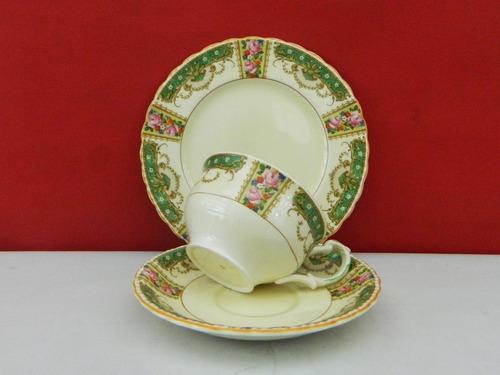trio para té de loza inglesa grindley st dennis