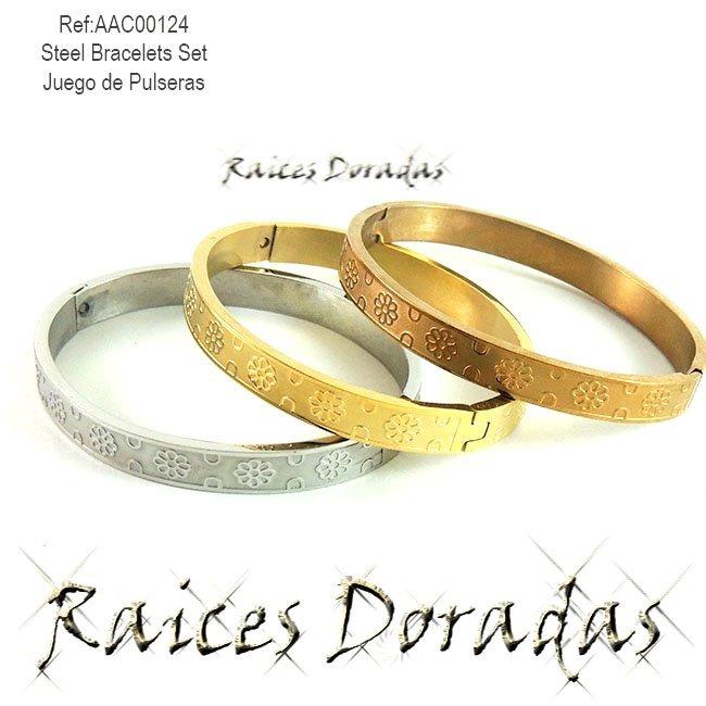 8e3cf7558fbd Trio Pulseras En Acero 3 Tonos Tipos Cartier Flores Brazale ...