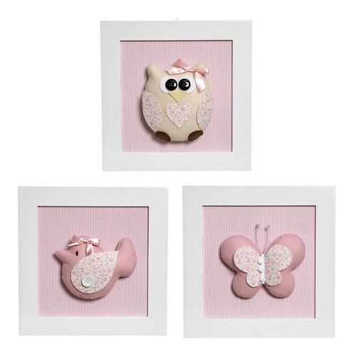 trio quadrinhos decorados bebê infantil animais menina
