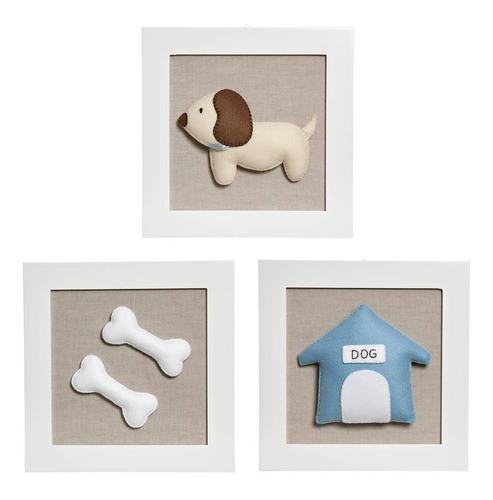 trio quadrinhos decorados quarto bebê infantil casa cachorro