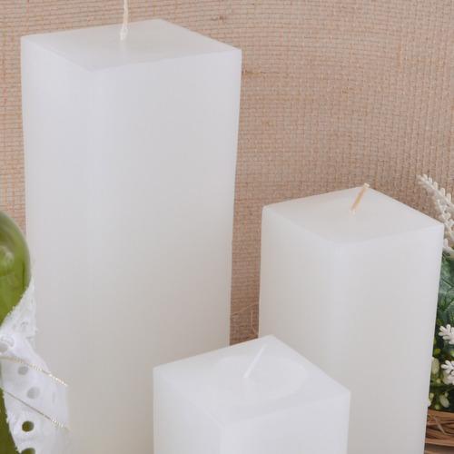 trio super vela pilar grande quadrada branca artesanal