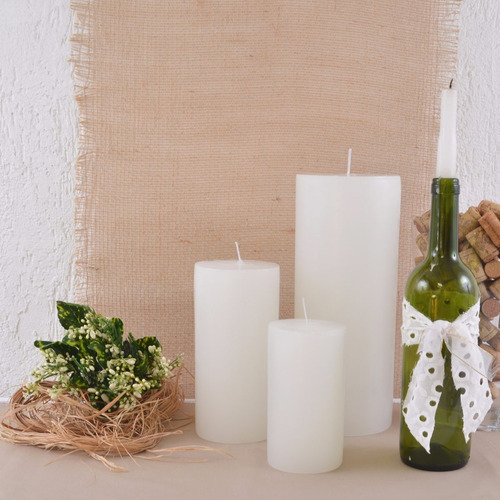 trio super velas pilares cilíndricas brancas artesanais