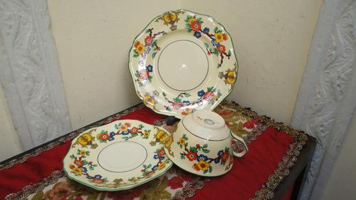 trio taza te loza inglesa antigua exquisito diseño miralo