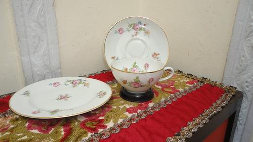 trio taza te porcelana limoges frances antiguo miralo