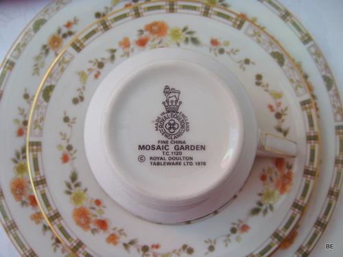trío té ingles porcelana royal doulton mosaic garden c1978