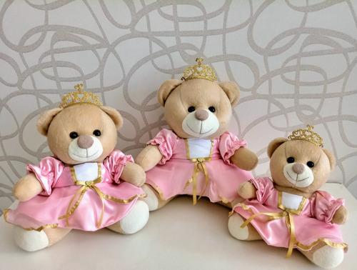 trio ursinho de pelucia princesa ou principe para nichos