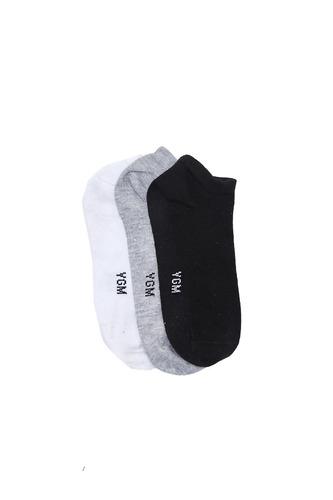 tripack de medias lisas, blanco, negro y gris yagmour