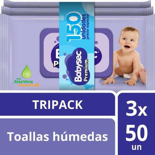 tripack toallita humeda babysec premium x150