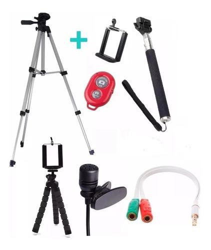 tripe 1,20 mini tripe flexiel + kit youtuber para celular