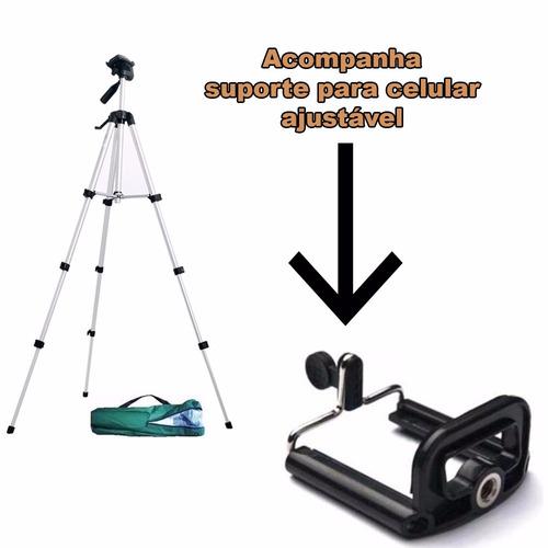 tripé 1,30 m profissional + adaptador celular + lentes self