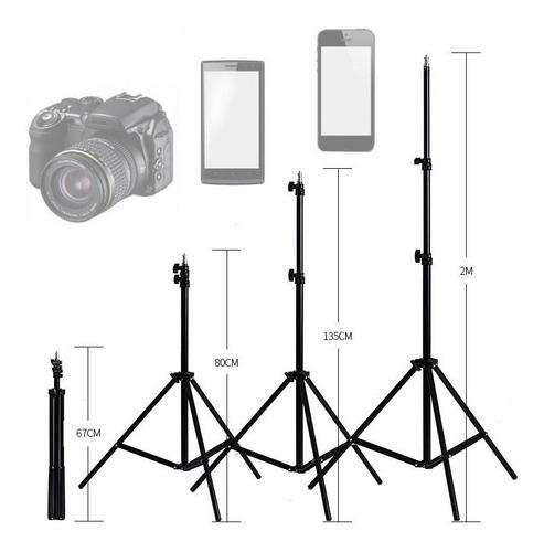 tripé 2,10m profissional ring light youtuber suporte celular