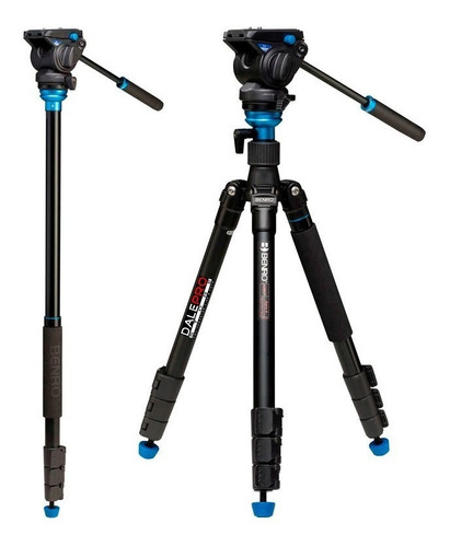 tripé benro aero 4 travel video a2883fs4 altura 165,5cm 4kg
