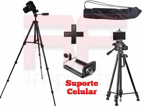 tripé binóculo profissional canon 1,50 mts + suporte celular