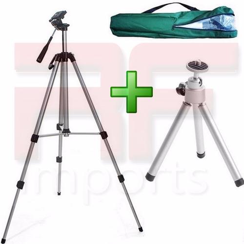 tripé binóculo profissional canon sony 1,30 m + mini tripé