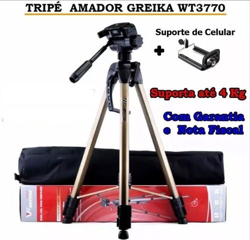 tripé greika wt3770 suporta até 4 kg + suporte de celular