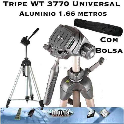 tripe universal aluminio 1,66metro câmera filmadora c/ bolsa