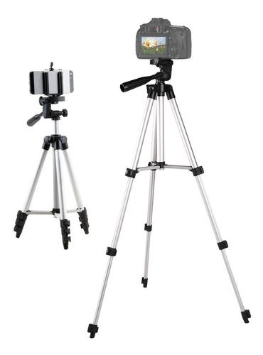 tripié para cámara y celular con tornillo y clip · aluminio