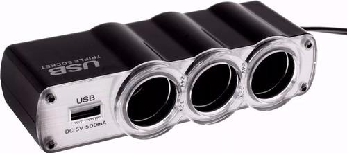 triple adaptador 3 bocas 12v + 1 cargador usb para auto