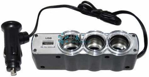 triple adaptador 3 bocas 12v 24v + 1 cargador usb para auto