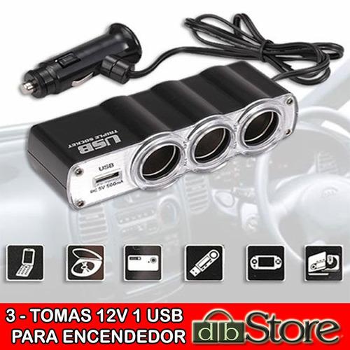 triple socket 3 tomas con cable+cargador usb 12v -24v p/auto