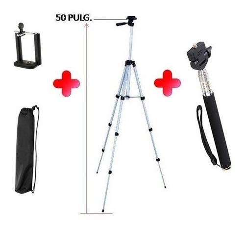 trípode 50 pulg + base celular + palo de selfie + bulto + bl