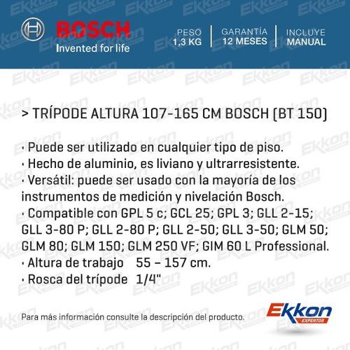 trípode compatible para nivel bosch aluminio 165cm bt 150