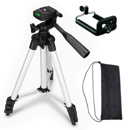 trípode de aluminio con funda para cámara y celular 100cm