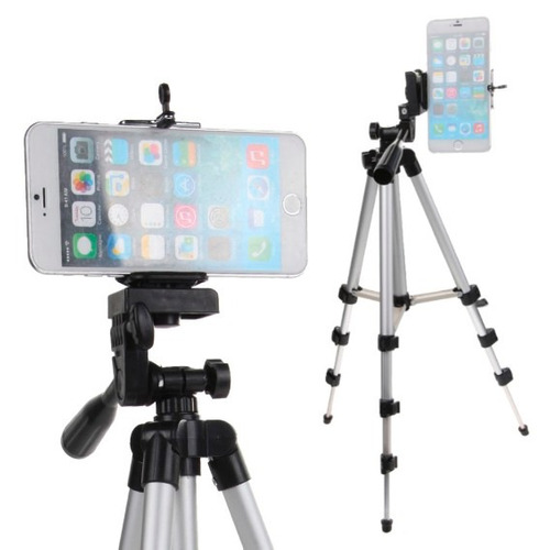 trípode de aluminio con funda para cámara y celular 100cm!