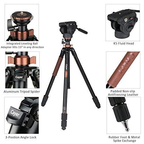 Tr/ípode de Cabeza fluida c/ámara de Video Cayer AT2371 Pro Patas de tr/ípode con Cabezal de Video Fluido K5 Kit de fluidos de Video de 70,5 Pulgada Carga m/áxima 17,6 LB