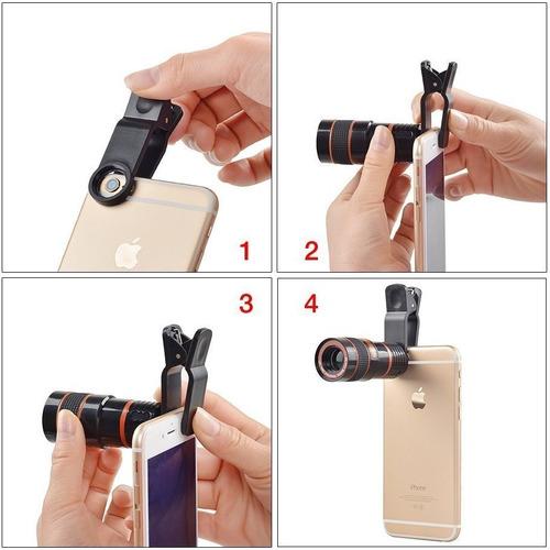 tripode mini + lente zoom 8x universal para celulares ®