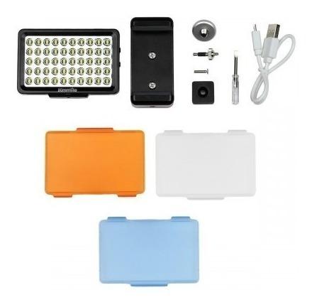 tripode para camara o celular  50 pulg + luz led para cell