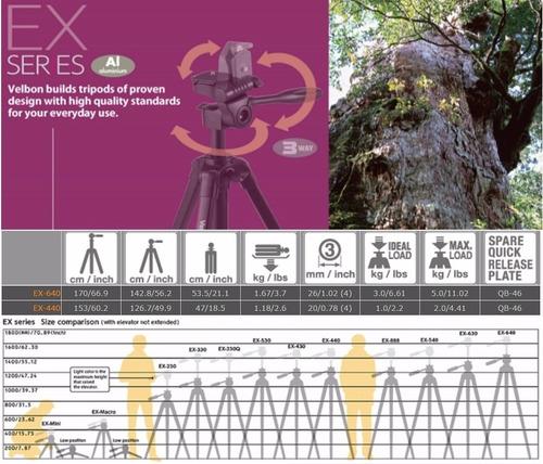tripode velbon pro ex-640 - 0,6m a 1,7m soporta 5kg