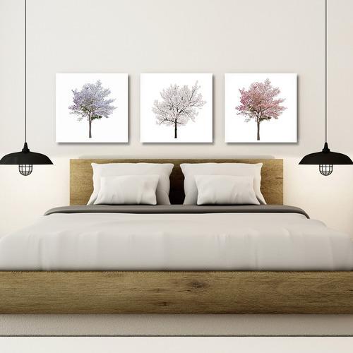 triptico arboles colores tenues, cuadro decorativo en canvas