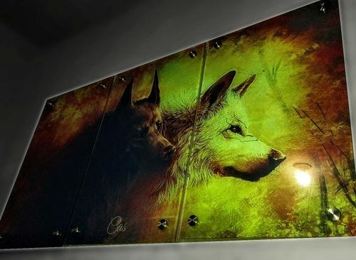 triptico en vidrio 6ml con diseño 120cm x 64cm lobos