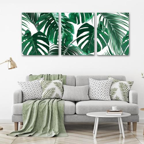 triptico hojas tropicales, cuadro decorativo en canvas